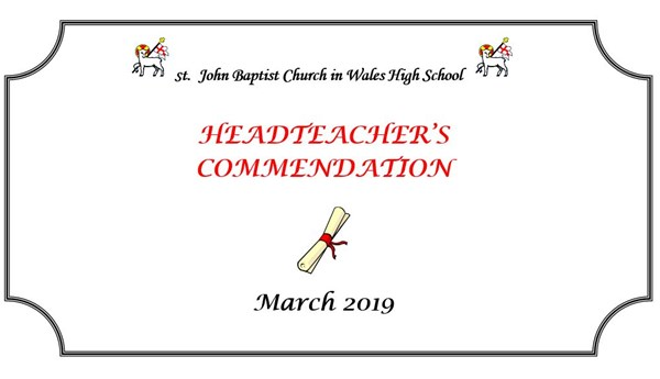 Headteacher Commendations